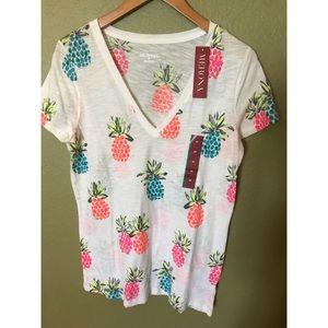 NWT Pineapple V neck T Shirt